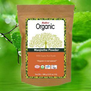 OrganicHaarverf.nl - Haarmasker Organic Manjistha Powder Kruidenhaarmasker 100g